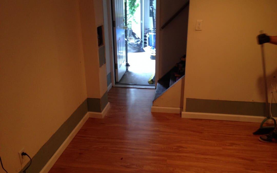 Flooding Repair – Hardwood Floor, Sheetrock, Trim, and Paint