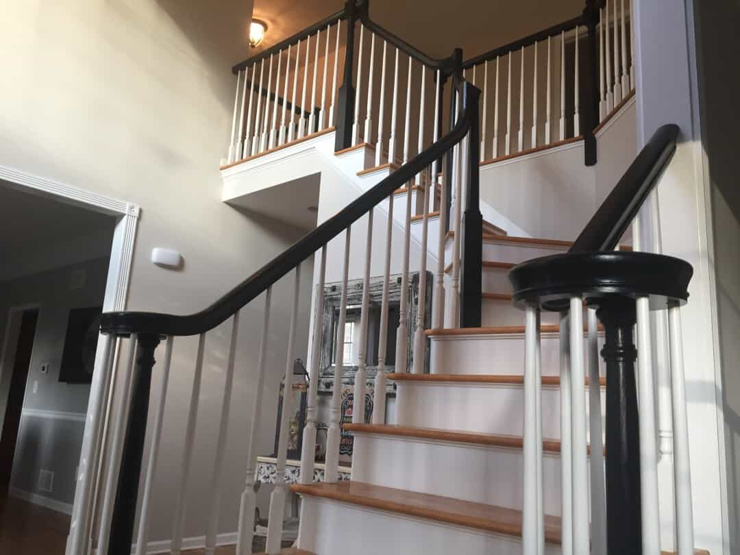 Stair railings painted black | Mendham